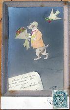 1906 Realphoto Fantasy Postcard: Dressed/Anthropomorphic Dog w/Hat & Flowers
