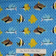 Nautical Fabric - Tropical Fish on Blue Scale Print - Michael Miller YARD