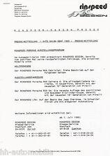 Pressemitteilung Rinspeed Design Porsche R89 Cabriolet D F GB press release 1990