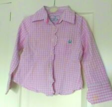 United Colors of Benetton Pink Checked Girls Kids Lo Sleeve Shirt Age 3 Size XXS