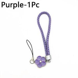 Charm Phone Cord Straps Woven PU Flower Shape Laynard Chain Keyring Key Holder