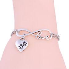Silver Plated Women love Heart Dog Prints Infinity Pendant Bracelet Chain Charm