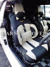 TO FIT A MINI COOPER CAR, SEAT COVERS, BO 4 ROSSINI MESH SPORTS BEIGE + BLACK