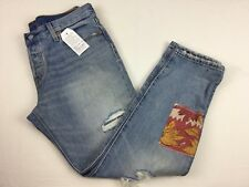 LEVIS Womens Size 29x32 Cropped Button Fly Tapered Leg Distressed Blue Jeans NWT