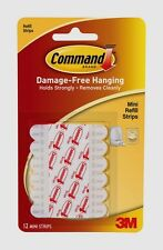 3M Command 12 Mini Clip Refill Strips Decorating Replacement Adhesive Glue 17020