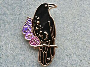 Raven Pin Badge Brooch. Rook Crow Odin Wiccan Nevermore Goth Heathen Asatru