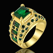 Jewelry Ring Size 7 Green Emerald Crystal Band Women's/Mens Gold Platinum Plated