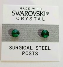 Green Circle Stud Earrings 4mm Small Crystal Made with SWAROVSKI ELEMENTS Gift