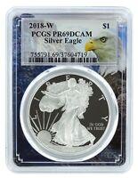 2018 W 1oz Silver Eagle Proof PCGS PR69 DCAM - Eagle Frame