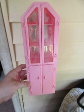 "Barbie Doll Sweet Roses Dining China Cabinet hutch Mattel 1987 pink 12 1/2"" tall"