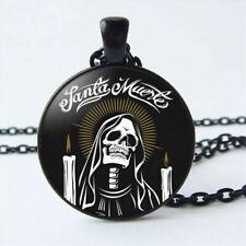 Santa Muerte Skull Necklace Glass Dome Black Pendant Necklace USA SELLER