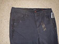 NEW $58 Earl Womens Skinny Slim Leg Jeans Size 18 Black Bling NWT
