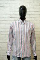 TOMMY HILFIGER Uomo Camicia Taglia L Maglia Manica Lunga Camicetta Righe Shirt