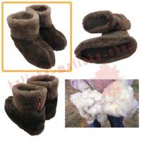WOMEN'S SHEEP WOOL BROWN CHOCOLATE SLIPPERS FELT BOOTS SHEEPSKIN SNUGGS VALENKI