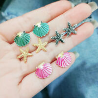 4 Pairs Boho Women Starfish Shell Stud Earrings Set Summer Beach Vacation Decor