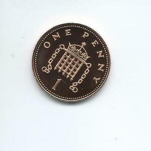 1986 Proof 1p One pence Royal Mint Proof coin taken from a Royal Mint Proof Set.