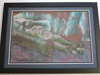 LARGE EXPRESSIONIST PAINTING TWO NUDES RECLINED MODERNISM MYSTERY ARTIST VINTAGE