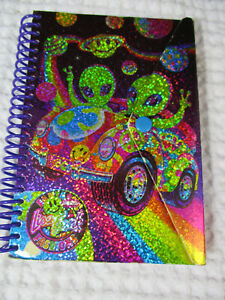 "vintage Lisa Frank snap front ""Aliens"" glitter hologram small notebook"