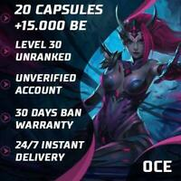 🎈OCE League of Legends LOL Account Smurf 20 Capsules 15000 BE Unranked Level 30