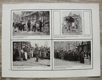 Blatt 1914-18 Antwerpen Belgien Flüchtlinge Einwohner Straße Ruine Soldaten 1.WK