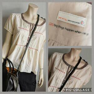 ODD MOLLY Size 4 Uk 14-16 Cotton Short Sleeve Blouse