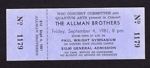 1981 Allman Brothers unused concert ticket Gunnison CO Brothers of the Road