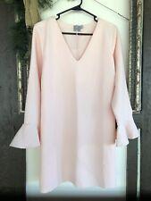Asos US 12 Petite Ballet Pink Shift Dress Tunic Long Ruffle Sleeve V Neck Tie
