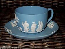❤Vintage Blue Wedgewood Tea Cup & Saucer Set-Jasperware-Marked-Collectible-EUC❤