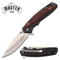 "Spring-Assist Folding Knife   3.25"" Blade Black Brown Wood Handle EDC 095BR"