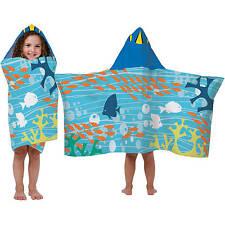 "Disney Finding Dory Hooded Bath Towel 22"" X 51"" Nemo Wrap."