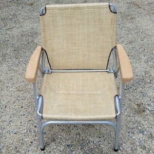 VINTAGE ALUMINUM FOLDING LAWN CHAIR w/MESH Tan and Brown Camp Outdoor Patio Deck