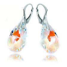 Crystal Bridal Earrings Auroris AB Swarovski Elements Silver Earrings for Women