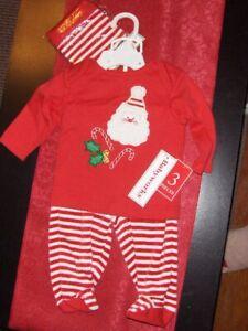 NEW Baby Works Santa 3-piece pants set (pants, shirt, hat) - 0/3 months