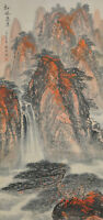 Vintage Chinese Watercolor MAPLE MOUNTAINS Wall Hanging Scroll Painting