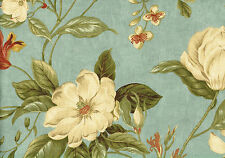 6 Yards Waverly Fabric Garden Images Aqua Green White  Cotton Drapery Upholstery