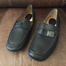 Born Dark Blue Whole Grain Leather Buckle Moc Driving Shoes Mens 11 M Very Good