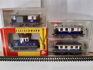 4 Teiliges Zug Set Edelweißbahn, Fleischmann 4305, H0, Gleichstrom, Analog