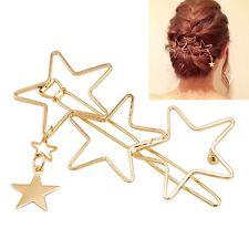 GOLD TONE  5 POINT STAR HAIR CLIP HAIR ACCESSORY - GIFT XMAS UK SELLER
