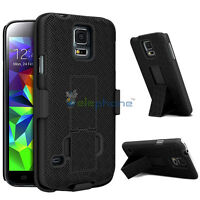 Black Swivel Hard Holster Kickstand Belt Clip Case Cover For Samsung Galaxy S5