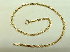 "9ct Gold Singapore Link 10"" Anklet * Fully Hallmarked *"