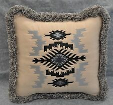 Embroidered Aztec Southwestern Design Pillow made w/ Faux Suede Fabric / fringe