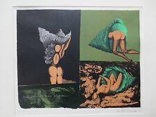 "Mac Zimmermann,""Three Attempts To Crawl Into A Shell"" Original Lithograph signed"