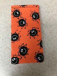 Eyeglass / Sunglass Soft Fabric Case - Fun, Cute Spiders on Bright Orange - NEW!