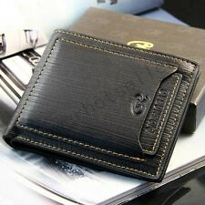 New Mens Black Genuine Leather Wallet Business Credit Card Holder Bifold Purse