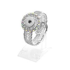 DIY 1pcs Charm Silver Rhinestone Ring For Noosa snaps chunk button B006
