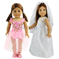 Lovely Lace Dress Clothes Sets with Veil for 18 Inch American Girl Doll Gifts
