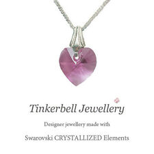 Girl's 925 Sterling Silver Necklace w Swarovski Rose Pink Crystal Heart Boxed