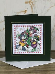 Completed Cross Stitch Mice Christmas  Card 5.5x5.5inch