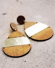 Earrings - Gold Metal Wood Round Teardrop
