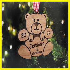personalised babys babies childs first 1st christmas xmas tree decoration bear - Bear Christmas Tree